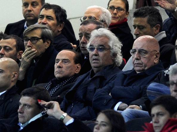 Flavio Briatore, qui con Galliani e Berlusconi (getty images)