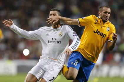 Il contatto Chiellini-C.Ronaldo (getty images)