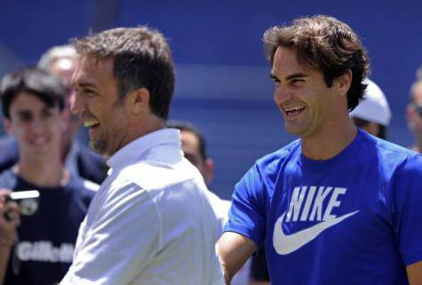 Gabriel Batistuta, qui con Roger Federer (getty images)