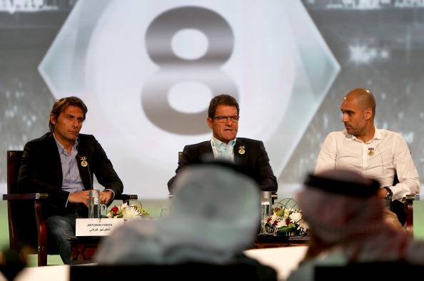 Antonio Conte, con Capello e Guardiola a Dubai (getty images)