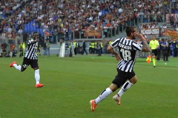 Osvaldo festeggia la rete contro la Roma (getty images)