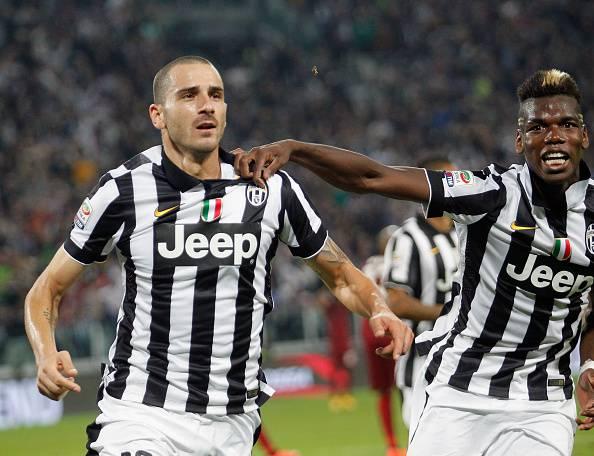 Leonardo Bonucci esulta dopo il gol alla Roma (getty images)