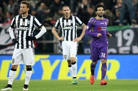 Salah festeggia in mezzo a Bonucci e Marchisio sconfortati (getty images)