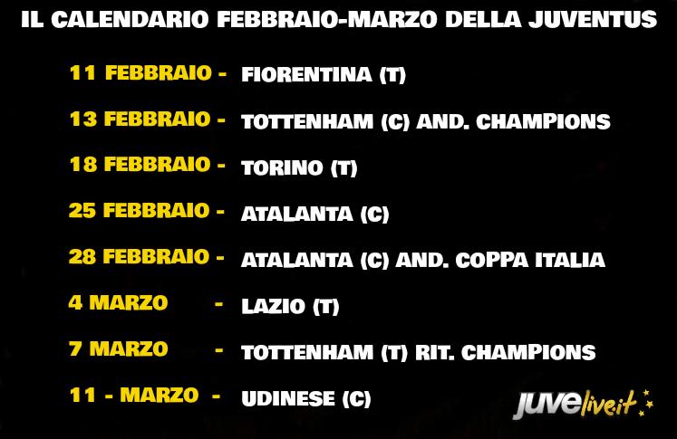 Calendario Iuve.Calendario Juventus Febbraio E Marzo Di Fuoco Per I Bianconeri